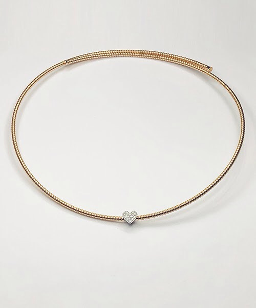 Collier in oro rosa 18 kt e centrale con diamanti taglio brillante