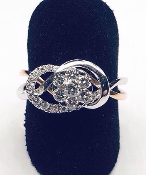 Anello  bicolore in oro bianco e giallo  18 kt e diamanti Govoni Gioielli