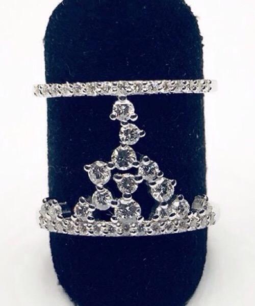Anello A grappolo in oro bianco 18 kt e diamanti Moraglione 1922