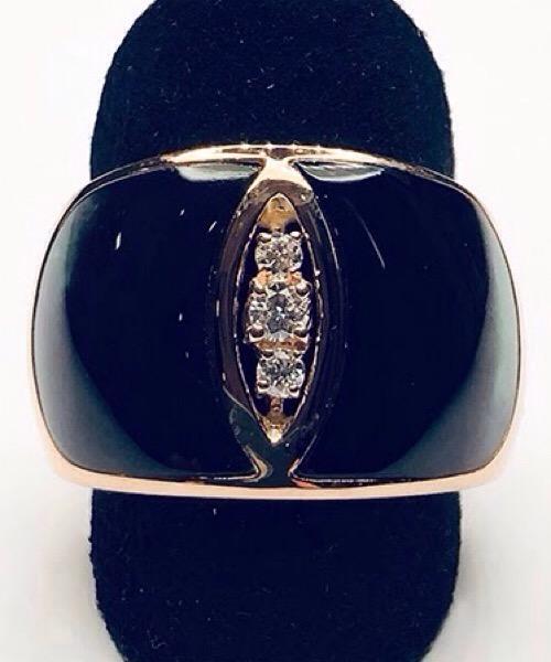Anello in oro bianco 18 kt, diamanti e madreperla nera Moraglione 1922