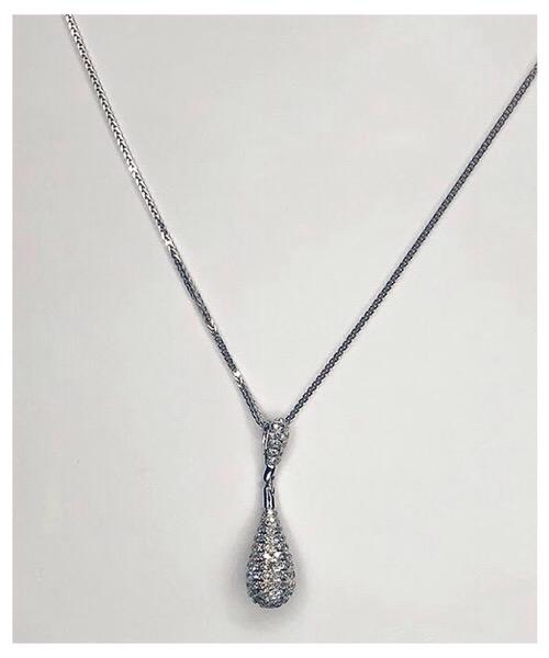 Collier Goccia in oro bianco 18 kt e pendente di diamanti