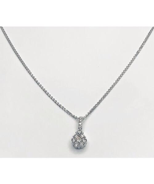 Collier in oro bianco 18 kt e pendente di diamanti